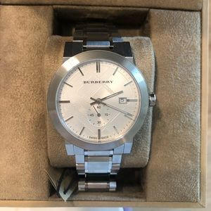 Burberry silver watch NWT